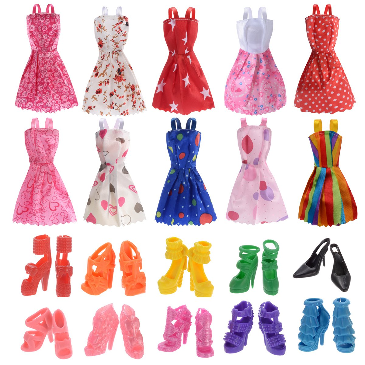 10 Pack Barbie Doll Clothes Party Gown Outfits with 10 Pairs Doll Shoes for Girl's Birthday Christmas Gift Generic