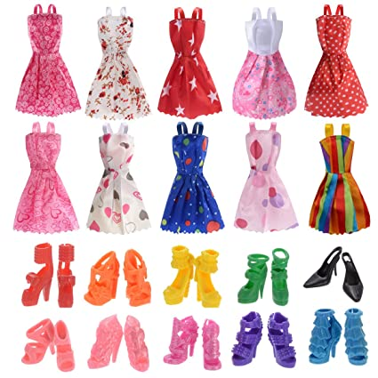 ba0ea50543f40 Amazon.com: Clothes for Doll, 10 Pieces Party Gown Outfits with 10 ...