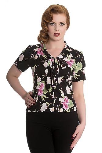 Blusa Top Camisa Floral Rockabilly de los 50's Hell Bunny Freya