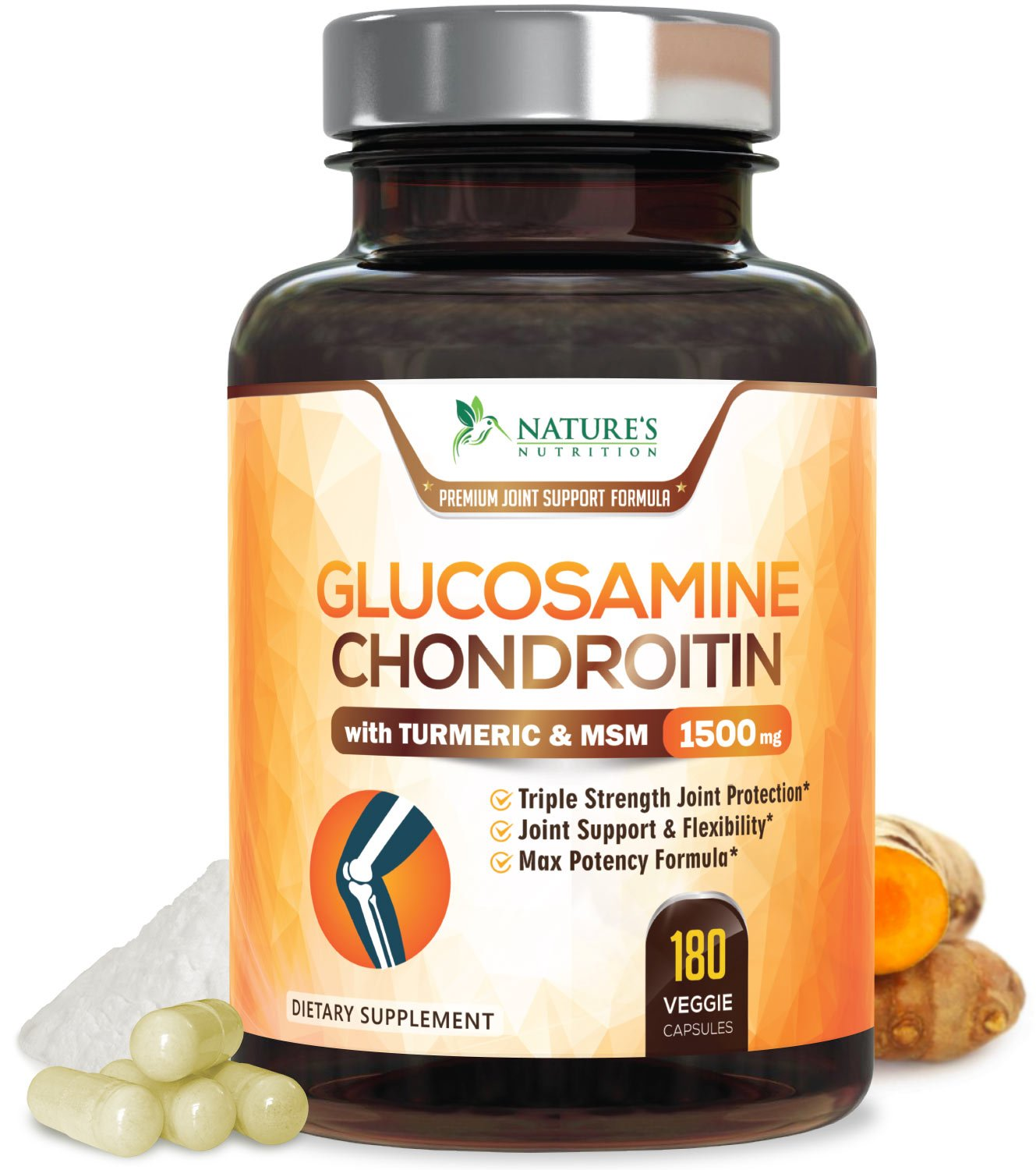 Glucosamine Chondroitin MSM Turmeric, 3X Triple Strength Standardized for Hip, Joint & Back Pain Relief. Anti Inflammatory Supplement - Made in USA - Anti Inflammatory Supplement - 180 Capsules by Nature's Nutrition