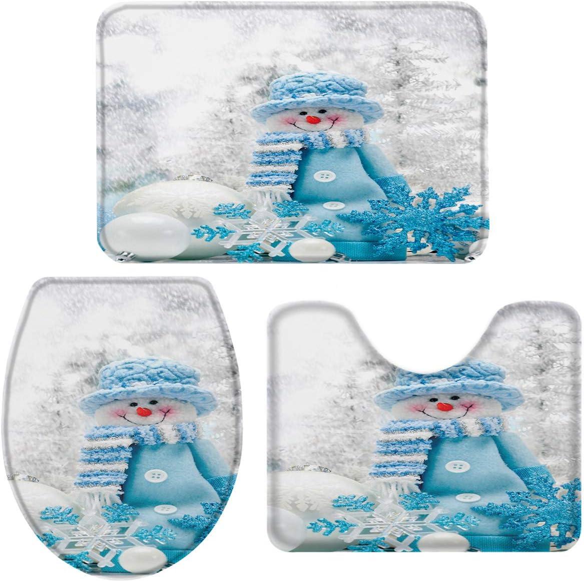 Toilet Seat Cover Cute Snowman Snowflake Non-Slip Bathroom Doormat Runner Rugs U-Shaped Toilet Floor Mat Large OneHoney 3-Piece Bath Rug and Mat Sets