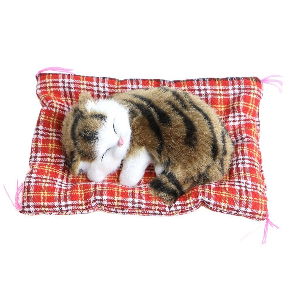 Nuobo Cute Sleeping Cat Press Simulation Sound Animal Stuffed Doll Toy with Sound Seat Cat for Car Ornaments (cao)