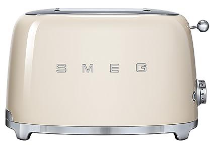SMEG Tostador TSF01CREU, 950 W, Acero Inoxidable, 2 Ranuras, Crema