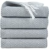 RAYKER Classic Kitchen Towels,100% Cotton Tea Towels, Best Dish Cloths, Vintage Tassels Design,4 Pack In 40x60cm (Grey)