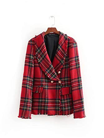 68cc911d3ae6b3 AUUOCC Women Twill Tweed Plaid Slim Suit Jacket Fall Women's Jacket P67 Red  S