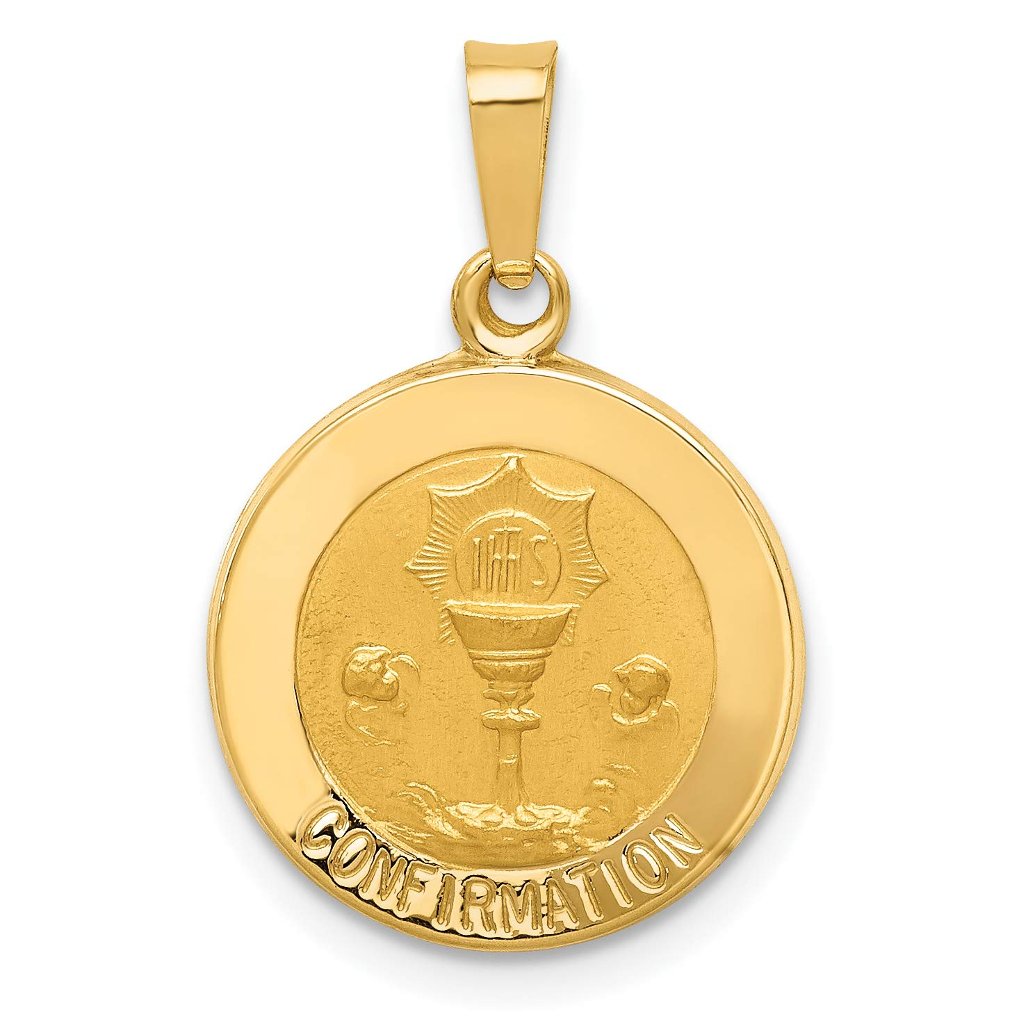 14k Yellow Gold Cup And IHS Confirmation Words On Round Medal Pendant 18x15mm