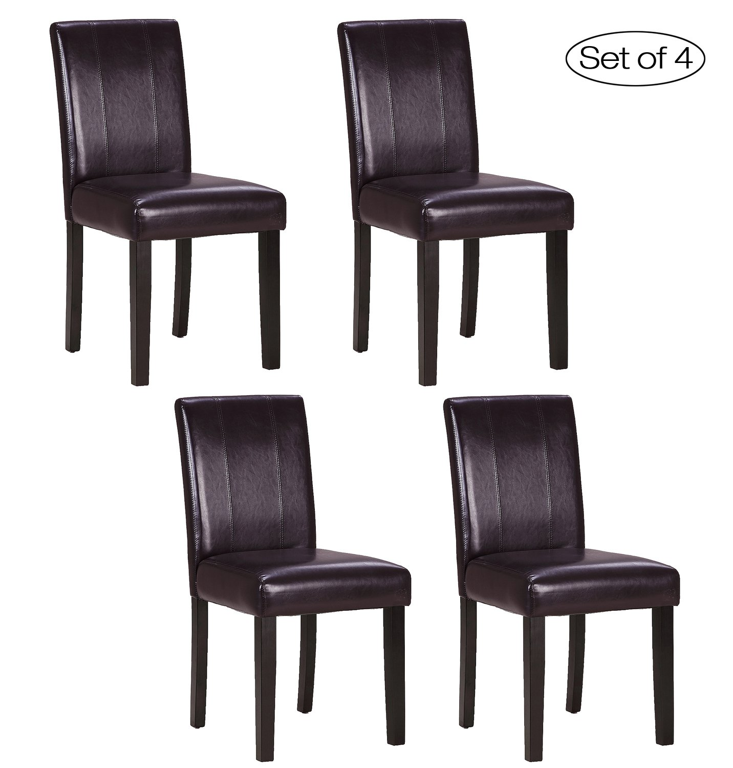 Set of 4 Kitchen Chairs with Solid Wood Legs ZXBSWELE Easy-to-Clean Urban Style Dining Chair for Kitchen, Living Room, Dining Room, Leatherette, Chocolate Brown