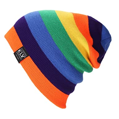 764eddad040 KLV Womens Mens Slouch Beanie Ski Skull Cap Warm Knitted Hat in 3 Color(Orange)   Amazon.co.uk  Clothing