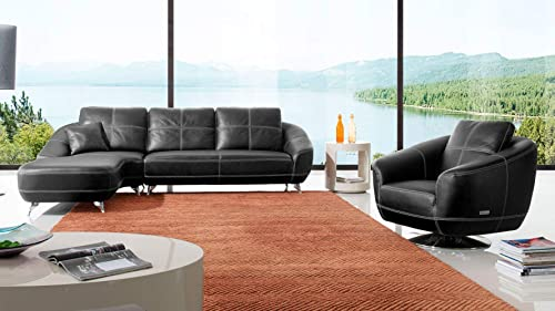 Modern Lucy Genuine Black Leather Sectional Sofa