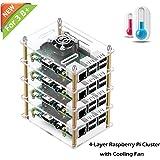 iUniker Raspberry Pi Cluster Case, Raspberry Pi Case with Cooling Fan and Raspberry Pi Heatsink for Raspberry Pi 3 Model B+, Pi 3 B, Pi 2 B, Pi B+ (4-Layers)