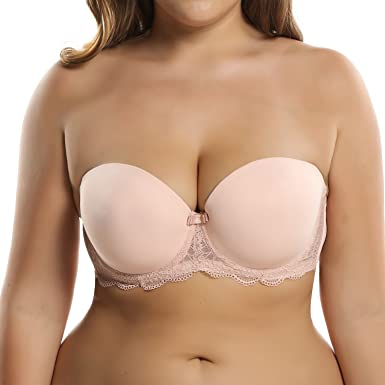 749ff5180f Ekouaer Women s Full Coverage Underwire Minimizer Strapless Bra(Nude ...