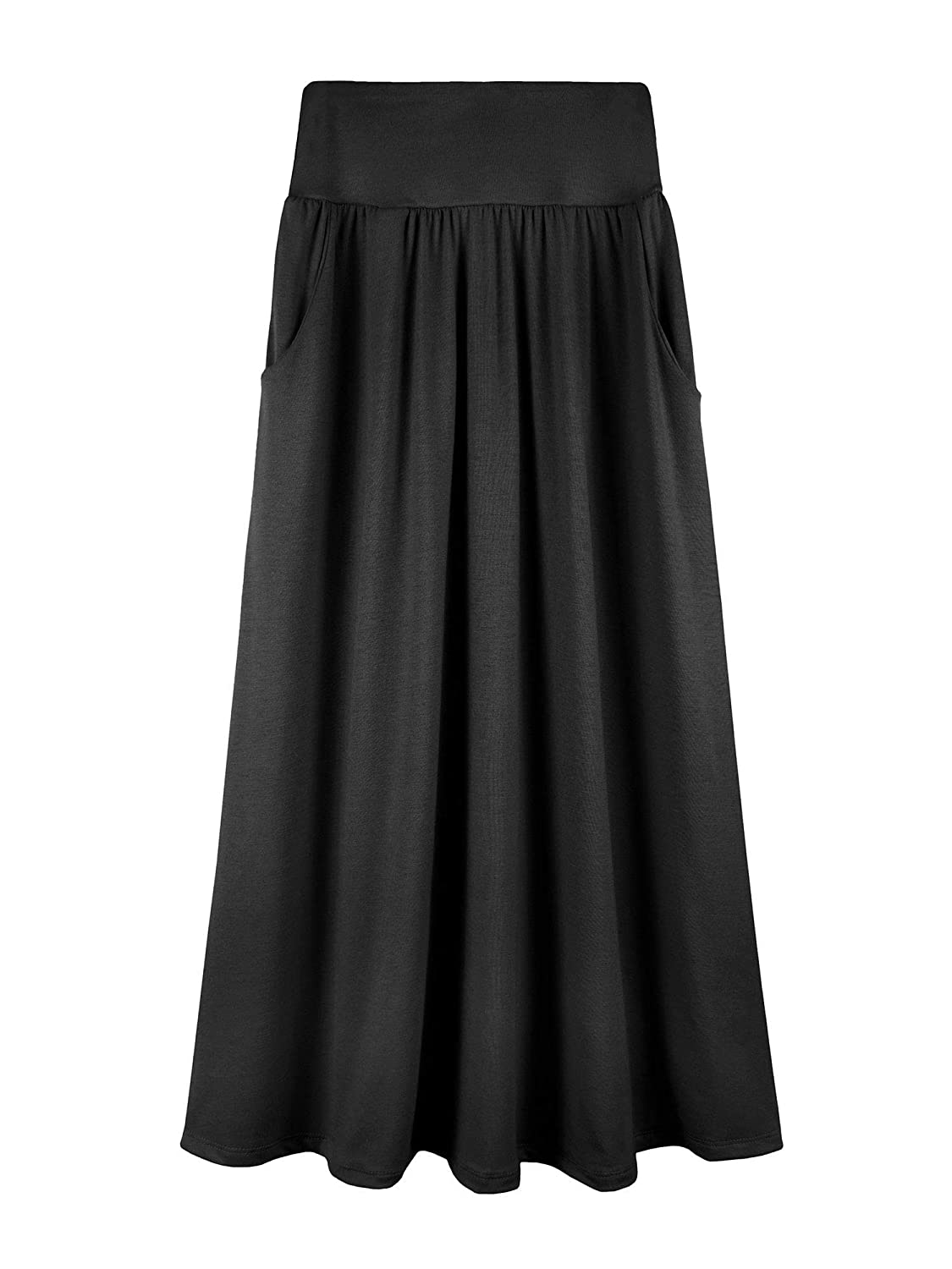 Fashion California Girls 7-16 Years Poly or Rayon Solid Maxi Skirt with Pockets S-XL