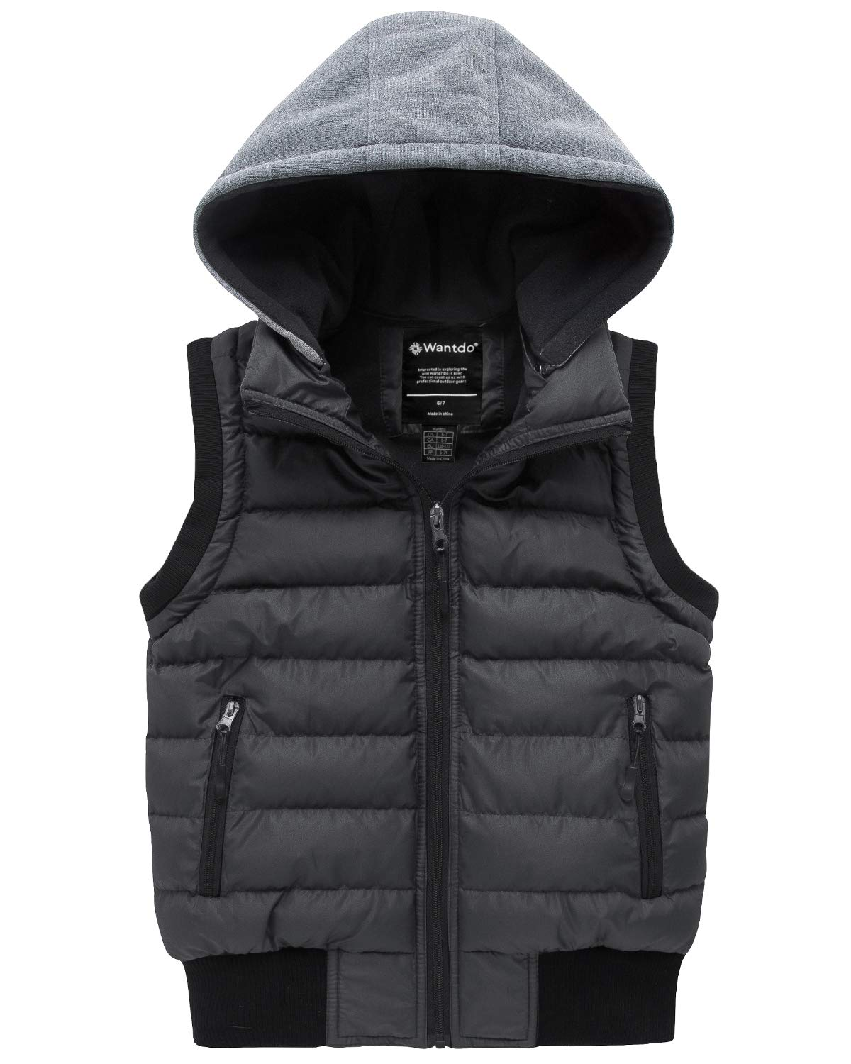 Wantdo Boy's Hooded Puffer Fleece Vest Warm Sleeveless Jacket Light Gray 14/16 by Wantdo