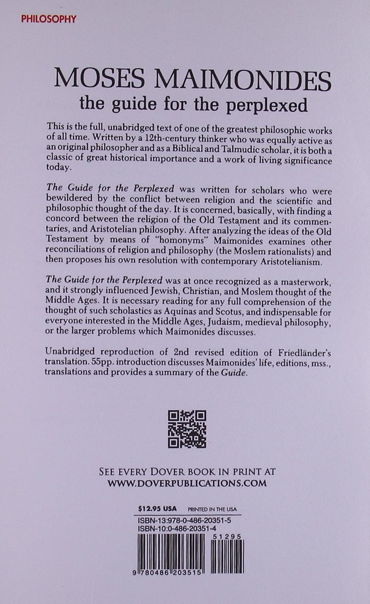 The Guide For The Perplexed: Moses Maimonides, M Friedlander:  9780486203515: Amazon: Books