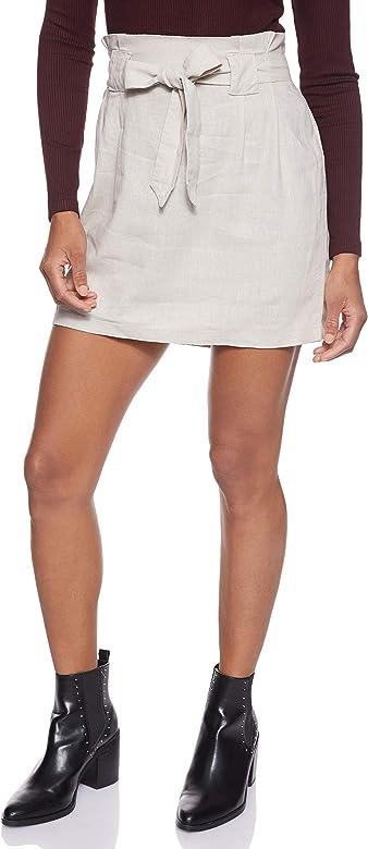 Only Onlpalma HW Linen Mix Paper Skirt Pnt Falda, Gris, 42 (Talla ...