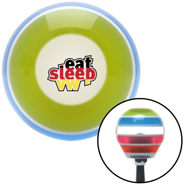 American Shifter 273551 Eat Sleep VW Flag Stripe Shift Knob with M16 x 1.5 Insert