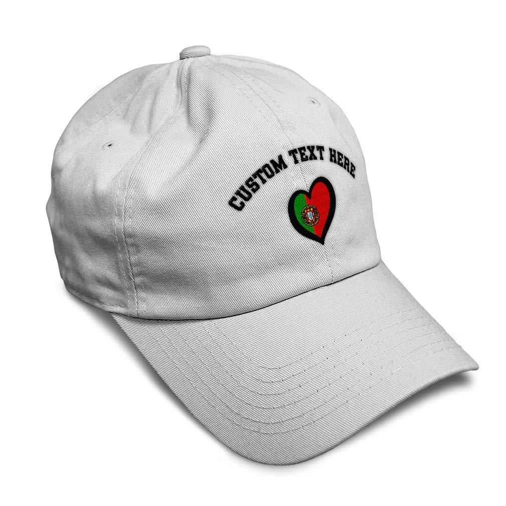 Custom Soft Baseball Cap Portugal Flag Heart-Shaped Embroidery Twill Cotton
