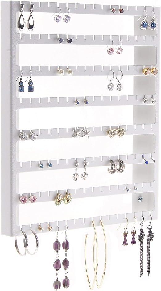 Amazon Com Angelynn S Stud Dangle Earring Holder Wall Mount Hanging Jewelry Organizer Display Closet Earing Jewelry Storage Rack Luka White Home Kitchen