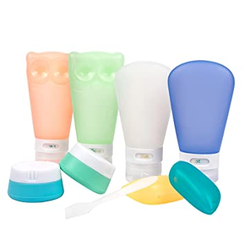 9714e53d0525 Toprema Portable Silicone Travel Bottles Set Leak Proof Toiletry Containers  TSA Approved 8 Pack