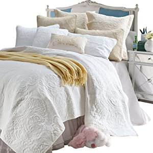 Brandream White Beige Vintage Floral Comforter Set Queen Size Bed Quilt Set (White Paisley)