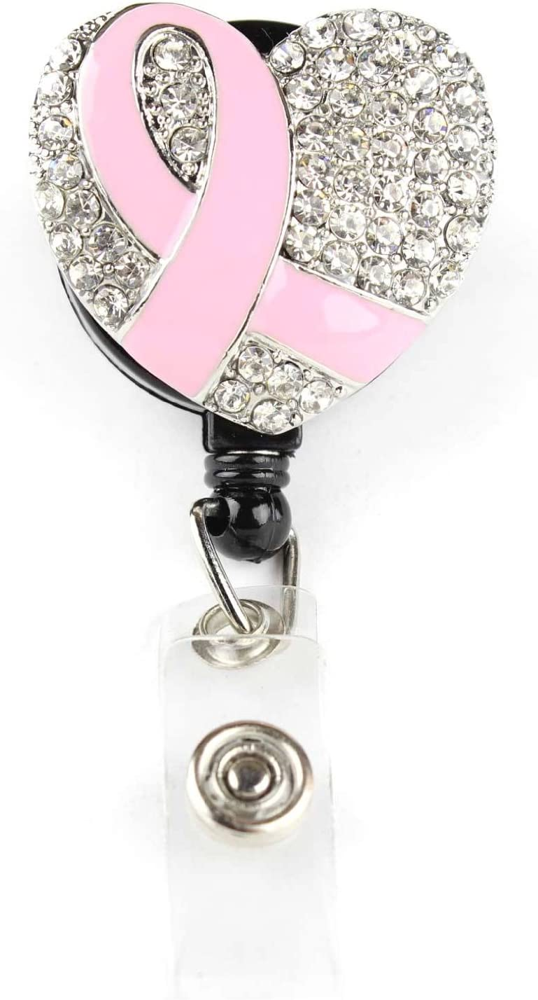 Pink Breast Cancer Awareness Badge Reel Believe in Pink Badge Reel Retractable ID Badge ID Holder