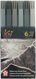 Sakura XBR-6SA 6-Piece Koi Coloring Brush Pen Set, Gray