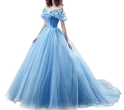 Chelsa Prom Dress Cinderella Off The Shoulder Tulle Ball Gowns