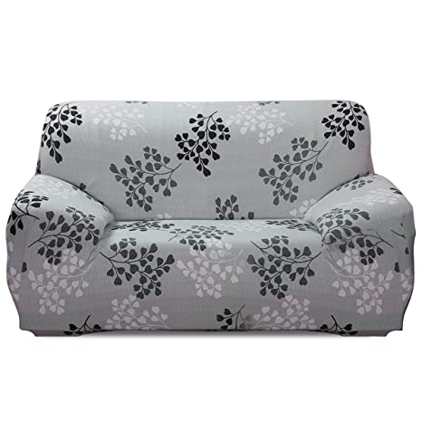 Fashion·LIFE Fundas de sofá Life 3 Plaza Funda de Sofá Elástica Cubre para Silla o Sillón en Tejido Elástico Estampado,Blanco grisáceo