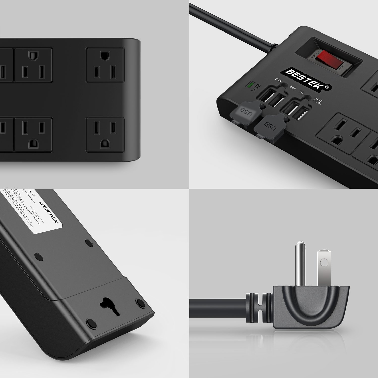 BESTEK 8-Outlet Surge Protector Power Strip with 4 USB Charging Ports and 10-Foot Heavy Duty Extension Cord, 600 Joule, ETL Listed, Black by BESTEK (Image #6)