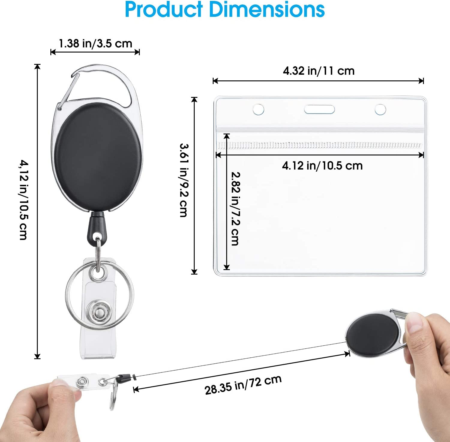 Student Cards InnoGear Badge Holders and Badge Reels 10 Pieces of Card Holders and Retractable Badge Reels for ID Cards Passes