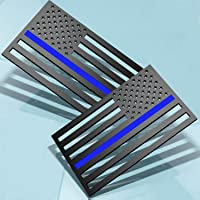 """3D Thin Blue Line US Flag Emblem Decal Stickers Cut-Out 