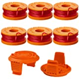 """Thten Edger Spools Replacement for Worx WG180 WG163 WA0010 Weed Wacker Eater String with WA6531 GT Spool Cover 50006531 String Trimmer Refills 10ft 0.065""""(6 Spool, 2 Cap)"""