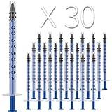 30 Pack 1ml Plastic Syringe, Luer Slip Tip, Individually Sealed, with Measurement, for Oral, Medicine Student, Refilling…