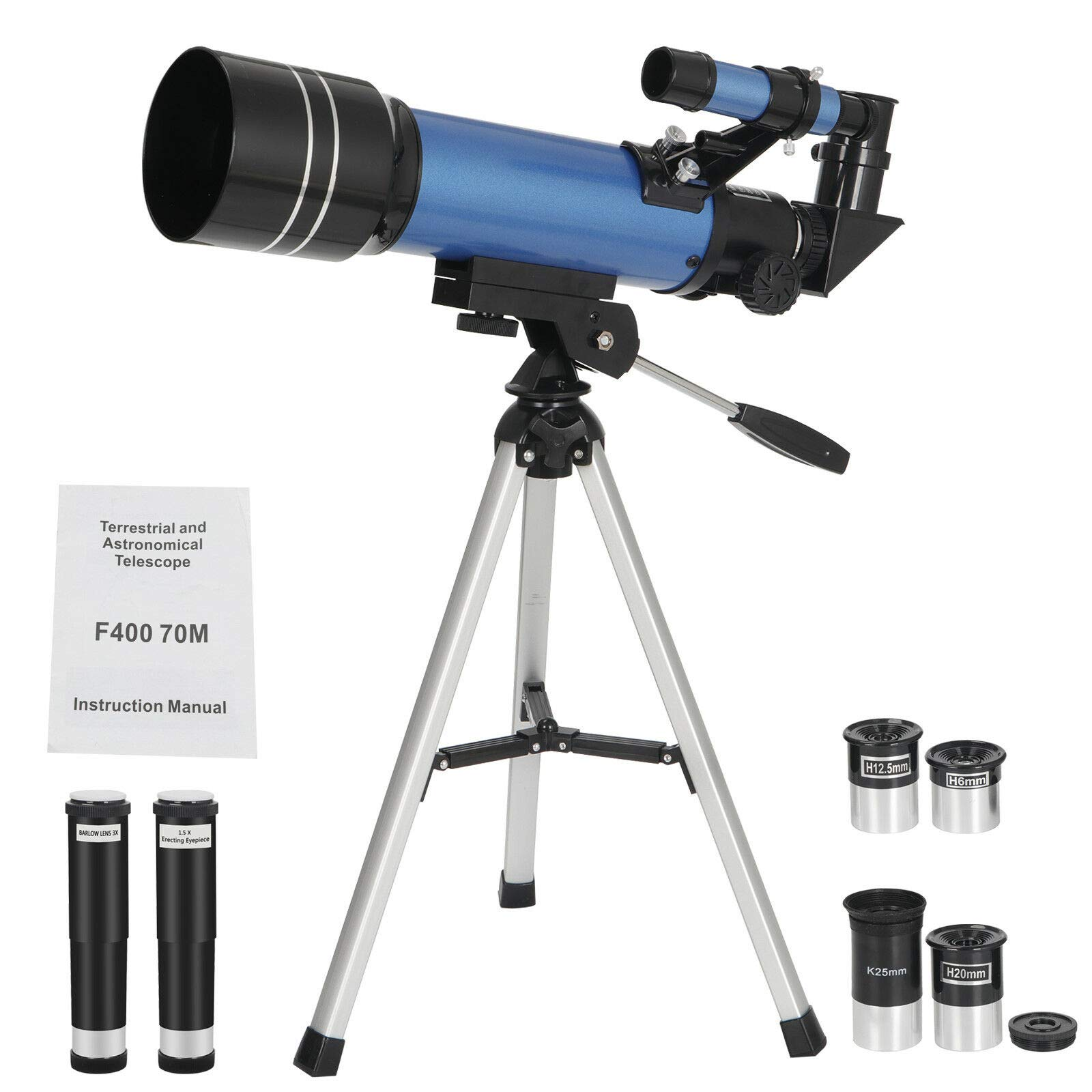 Pro-G 70-Millimeter Telescope Refractive Astronomical Refractor 4 Eyepieces Tripod Beginners for Kids Student to Explore Space Bird Watching Trek Fun by Pro-G