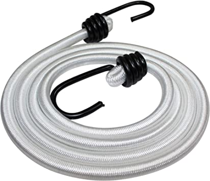 Heavy Duty Bungie - SGT KNOTS Bunji Cord Straps Marine Grade Bungee Cords with 2 Hooks Tie Downs Cars 3//8 in 4-Pack Bungee Cord with Hooks Camping Bungees for Bikes 48 in - White