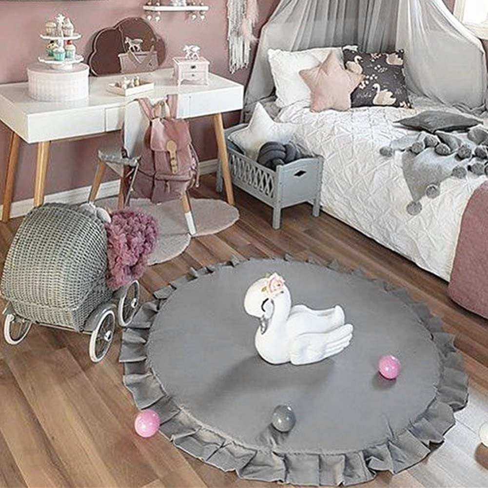 Round Baby Play Rug Mat Lace Cotton Carpet Baby Toys Nordic Decor