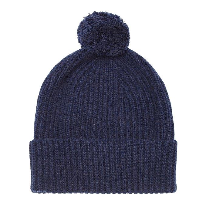 30f71194 Pure Cashmere Bobble Hat, Navy: Amazon.co.uk: Clothing
