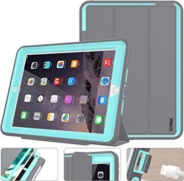 Amazon Com Seymac Stock Case For Ipad 5th 6th Generation Ipad 9 7 Inch 2017 2018 Case Smart Magnetic Auto Sleep Wake Cover Leather With Stand Feature For Ipad 2017 Release Gray Skyblue Computers Accessories