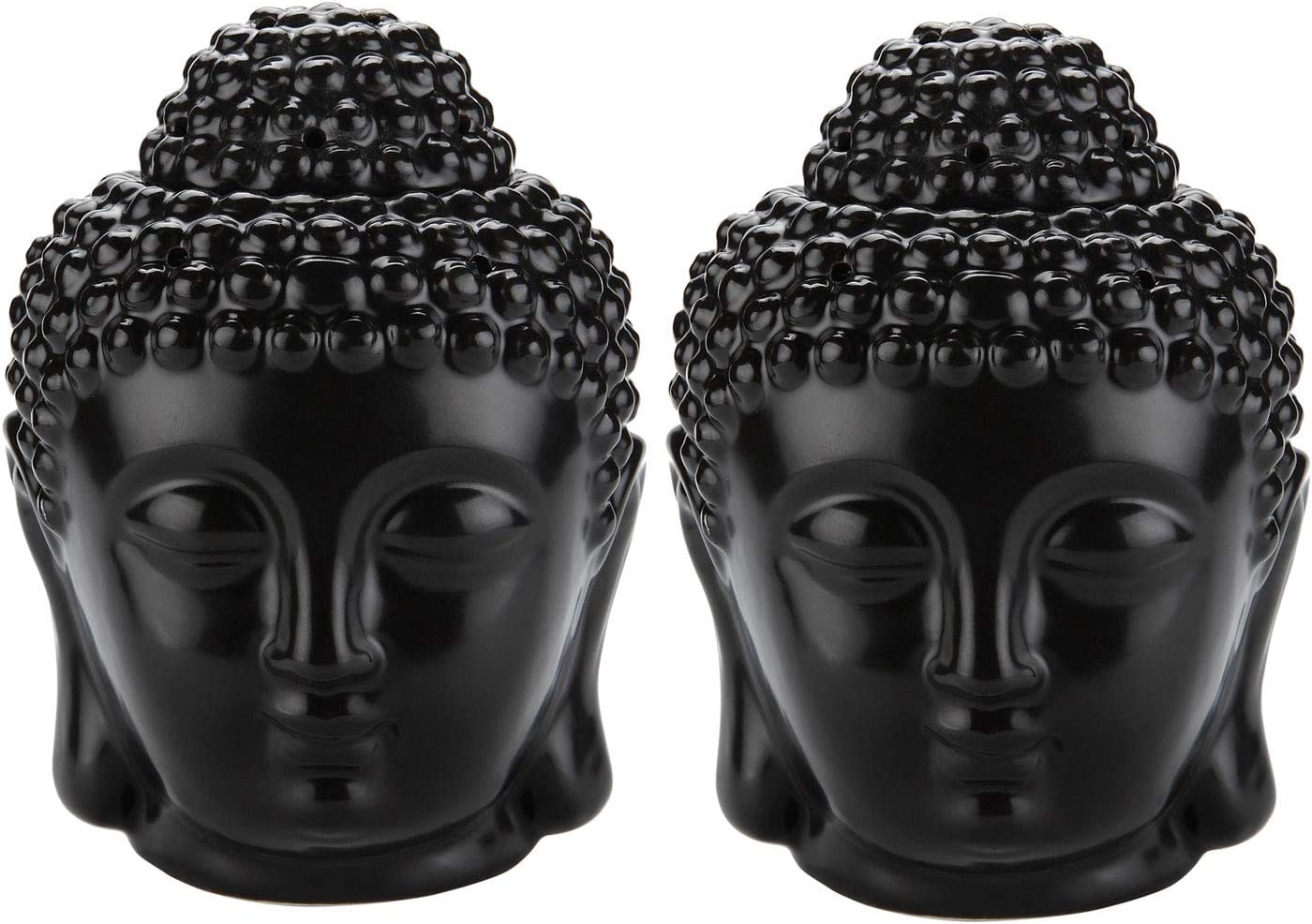 ComSaf Ceramic Buddha Head Essential Oil Burner with Candle Spoon Black, Aromatherapy Wax Melt Burners Oil Diffuser Tealight Candle Holders Buddha Ornament for Yoga Spa Home Bedroom Decor Gift