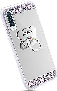 Ukayfe Custodia Compatibile con Samsung Galaxy A50,Specchio Custodia con Orso Anello Supporto Lusso Brillante Diamante Ultra Sottile TPU Silicone Morbido Mirror Telefono Cover Protettiva-Argento