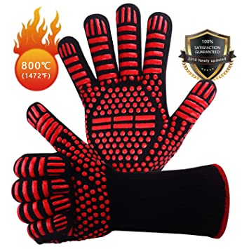 Win.Max Grillhandschuhe,Ofenhandschuhe BBQ Kochenhandschuhe Backhandschuhe Hitzefeste Handschuhe Kaminhandschuhe bis zu 800°C