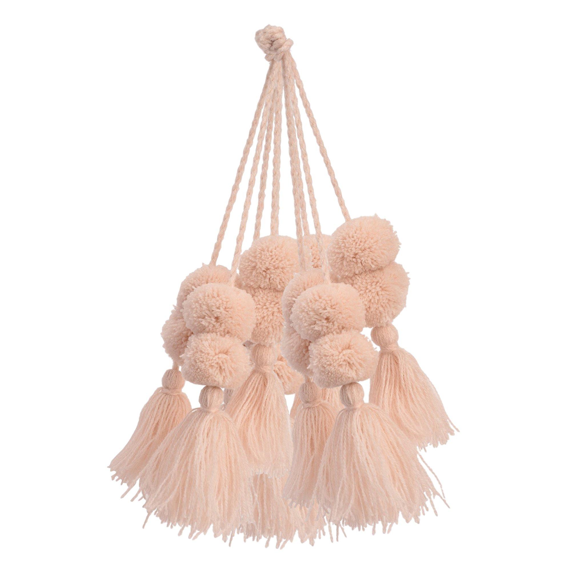 Blush Coral Pom Pom Bag Charm Set