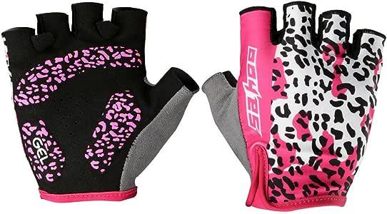 Rosa Tofern leopardo-mujeres/niñas ciclismo Spinning medio dedo ...