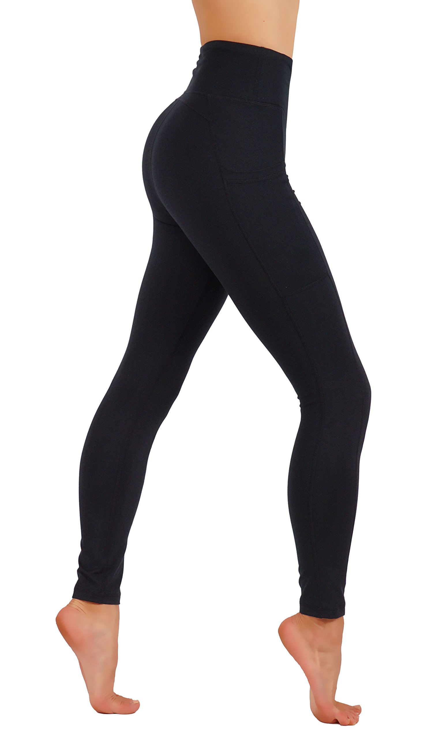 CodeFit Yoga Pants Dry-Fit High Waist with Both Side Deeps Pockets Full Length Workout Running Leggings (S USA 4-6, CF100-BLK)