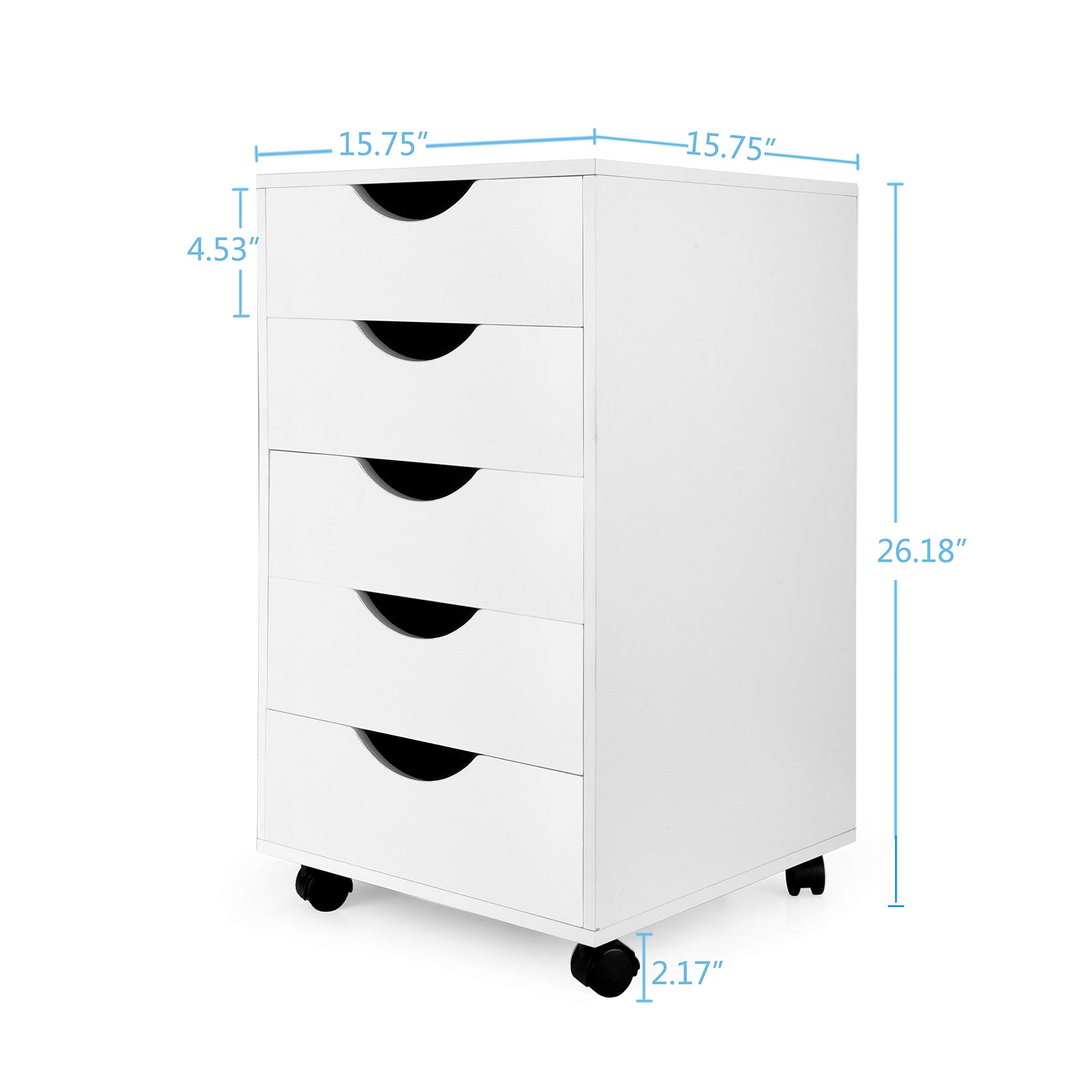 eMerit 5 Drawer Wood File Cabinet Roll Cart Drawer for Office Organization White by EMERIT (Image #5)