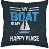 Boating Cruising Apparel.USA Vintage My Boat My Happy Place Sailboat Captain Dad Sailor Throw Pillow, 16x16, Multicolor
