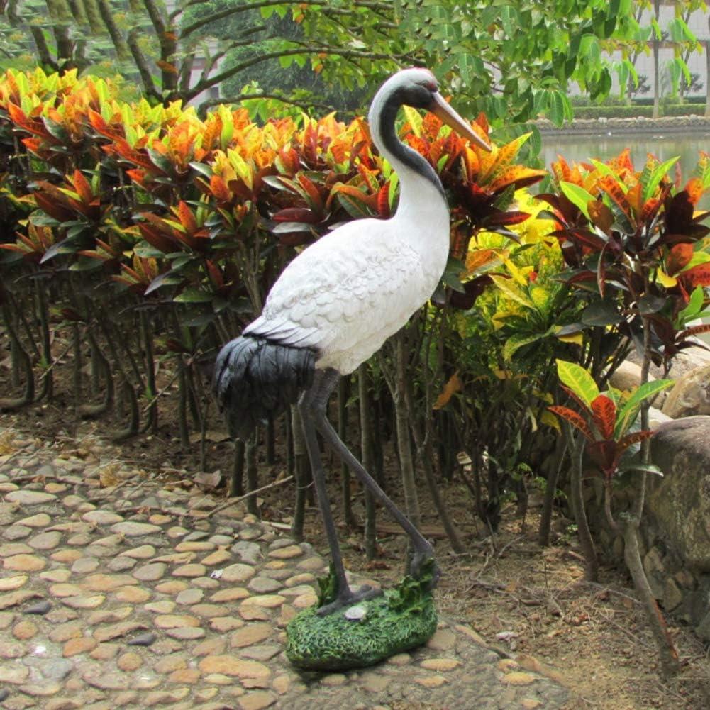 Yangyang Grulla de Corona Roja Jardín al Aire Libre Adornos Escultura Modelo de Pájaro Estatua de Resina para la Decoración del Hogar Colección, 32 * 21 * 67cm