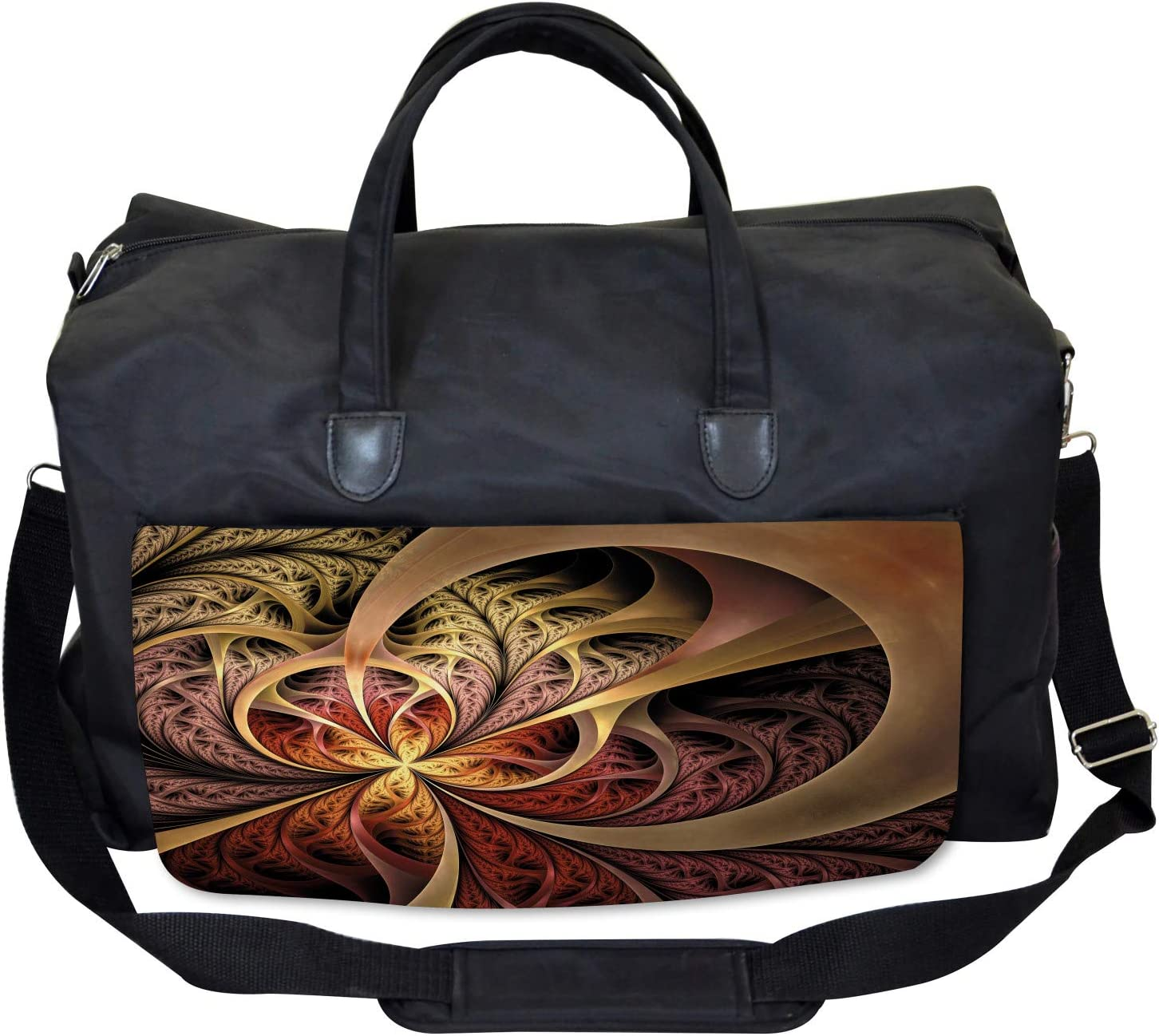Ambesonne Fractal Gym Bag Gothic Medieval Theme Large Weekender Carry-on