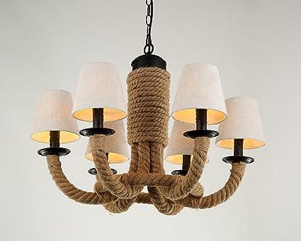Kronleuchter Rustikal ~ Aiwen stoff lampenschirm retro rustikal seil der hanf kronleuchter