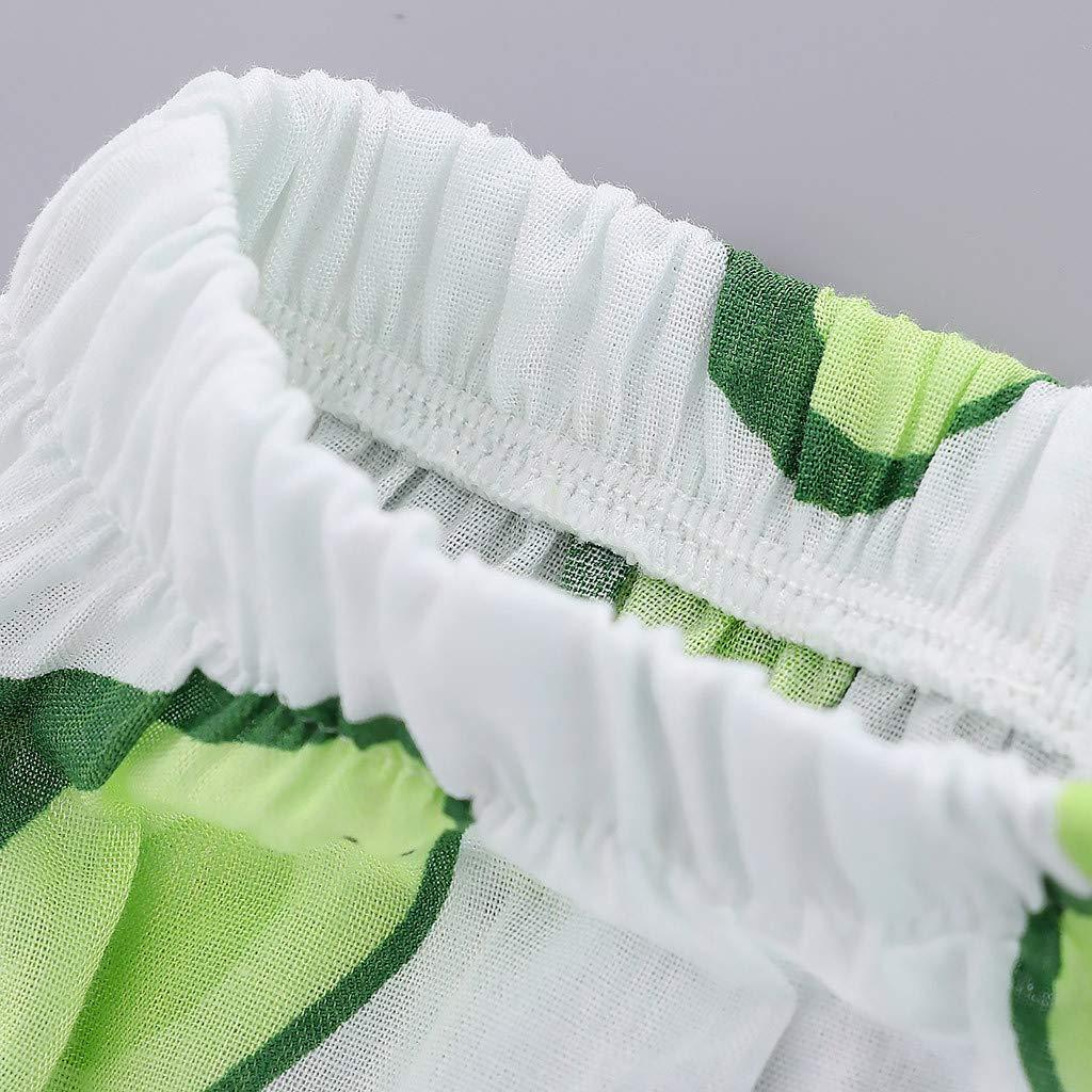 Fyhuzp Toddler Baby Girl Ruffle Fruit Watermelon Print Chiffon Vest T-Shirt Tops+Pants+Sun Hat 2019